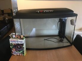 90 litre bow front fish tank with 6 month old filter and 10 day feeder
