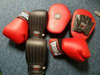 Boxing gloves and pad