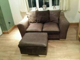 2 seater faux leather sofa and matching footstool