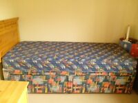 Single divan bed with 2 storage drawers