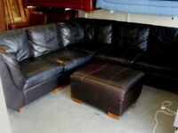Stunning Leather Corner Suite Sofa Settee & Footstool in Very Dark Brown