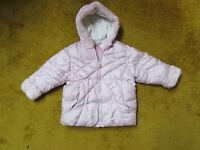 Girl's NEXT pink hooded coat 12-18-24 months 1-1,5-2 years.