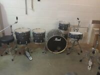 Pearl Vision VBA Limited Edition Skull Pattern 5 Piece Drum Kit 22in Bass Sabian Cymbals - £625 ono