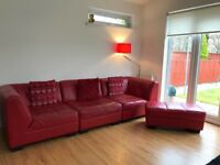 Leather Loft Style Sectional Sofa and Footstool