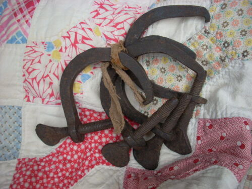 Antique Primitive Hand Forged Iron Sewing Quilters Quilting Clamps AAFA