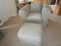 chesterfield type chenille chair and footstool