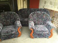 BLUE FABRIC 3 SEATER SOFA WITH 2 ARM CHAIRS,CAN DELIVER