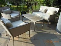 Beautiful garden furniture set. comprising settee, two armchairs and a low table