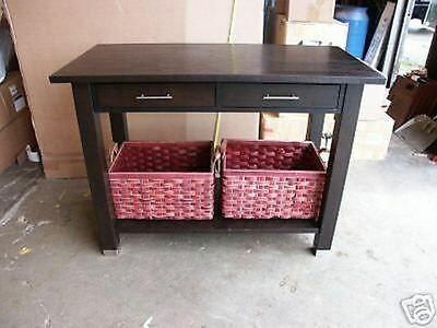 Pottery Barn West Elm Console Entryway Table wood Shelf breakfast bar -