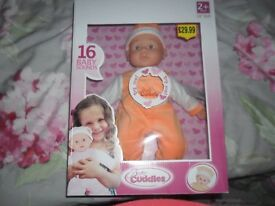 "16""soft boddied doll with 16 baby sounds"