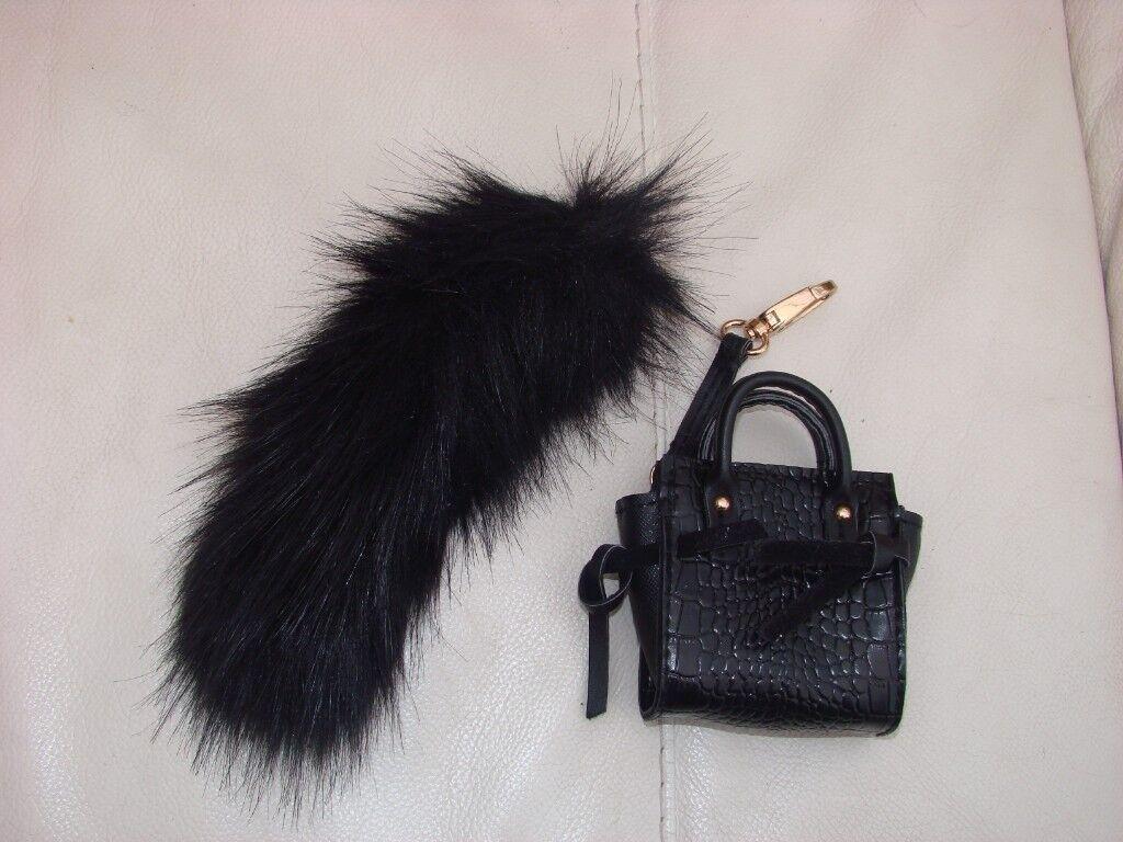 Furry Black Tail Handbag Key Fobs To Clip Onto Handbags Brand New