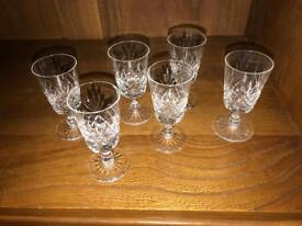 Crystal sherry glasses x 6