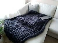 Chunky merino wool knit blanket 255cmx100cm