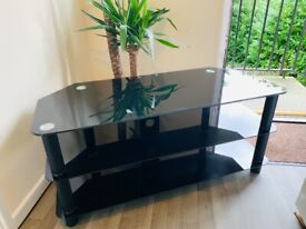 LARGE Tv Stand Mount Glass Unit Three Teir Smoke Free Home
