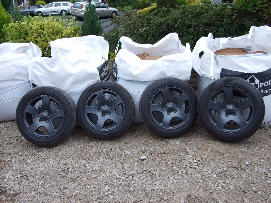 vw t4 camper van alloy wheel,set of four, pdc 112, dark grey good tires with centre caps,205/55r16