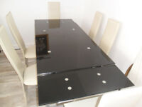 Glass Dining table Extendable + 6 high back chairs
