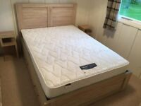 WOODEN DOUBLE BED WITH STORAGE DRAWERS & MATTRESS