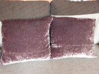 2 Purple Satin Plush Scatter Cushions With Duck Feather Fillings approx 56cm x 56cm Made in UK