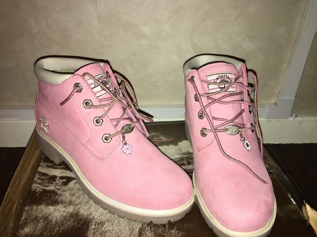 Pink timberland boots worn once