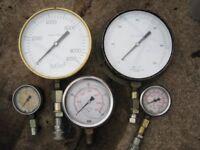 job lot assorted hydraulic pressure gauges