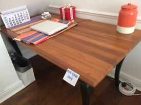 Classic sold wood table and chair works great as a desk