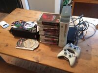 Xbox 360 and collection of games