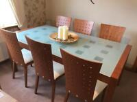 CherryWood Glass Dining Table.