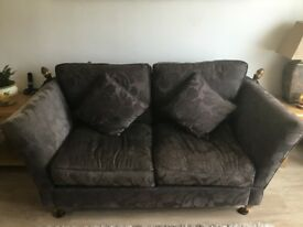 2+ seater sofa + cushions/drop down arms. Brown jacquard fabric bought from Barker & Stonehouse