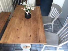 Shabby chic table with chairs and bench seat