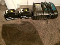 Makita batteries and charger