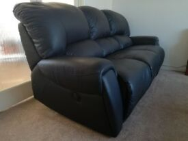 Reclining Black Leather Sofa