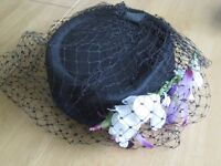 Pretty navy pill box hat for wedding/formal/races