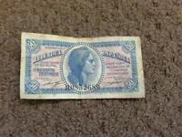 Antique spanish cruncy note 50c 1937
