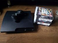 Playstation 3 slim 320GB with games, controller and cables