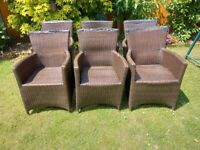 6 Rattan Chairs, Royalcraft brand, comfortable chairs