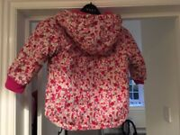 Jo Jo Maman Bebe Girls waterproof fleece lined coat in pink ditsy 18-24 months