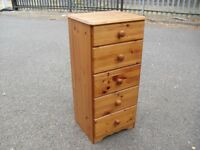 Tall Narrow Pine Chest Of 5 Drawers