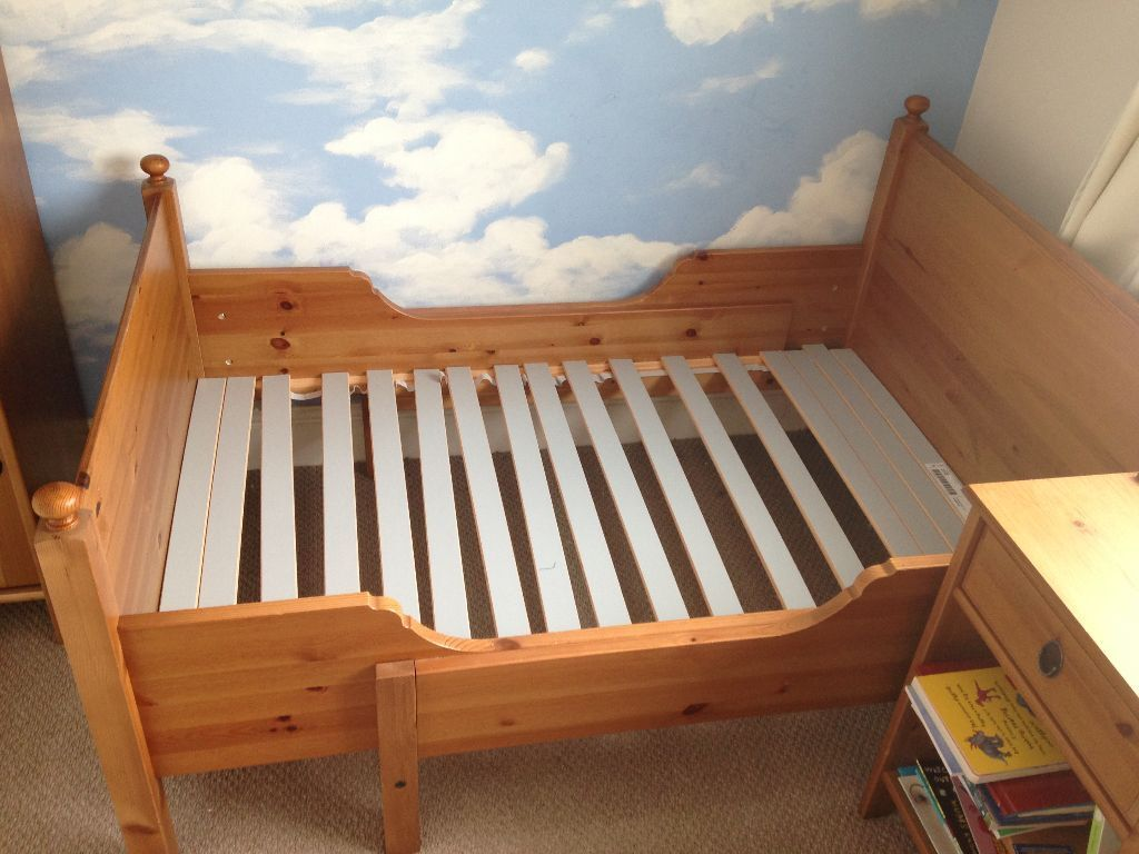 Ikea Leksvik Antique Pine Extendable Childrens Bed In