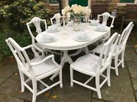 Dining Table & 6 Chairs ~ Extending ~ Seats upholstered in Silver Grey Crushed Velvet