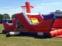 Bouncy castle pirate ship obstacle course