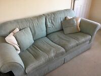 2 and 3 seater Laura Ashley duck egg jacquard sofas