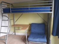 Metal high rise bed with desk and chairbed underneath