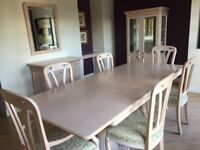 Dining table (extendable), 6 chairs, half glazed cabinet, sideboard and console table