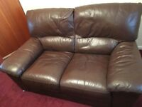 Brown leather sofa 2 and chair