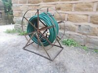 Large Vintage Antique Remploy Wrought Iron Garden Hose Reel Holder with Hose Pipe Rusted