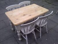 SHABBY CHIC FARMHOUSE TABLE four chairs heavy app 4ft x 2.5ft