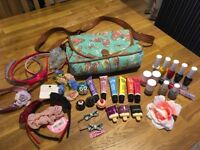 Girls bag, hair accessories lip glosses nail varnish