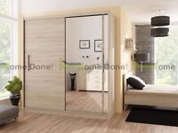 *14-DAY MONEY BACK GUARANTEE!**Victor Luxury Sliding Door Wardrobe in 3 Colours - SAME DAY DELIVERY!