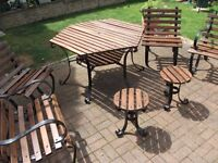 RARE ANTIQUE NEWLY REFURBISHED 7 PIECE GARDEN TABLE AND CHAIRS