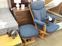 Blue Fabric Rocking Chair with Footstool